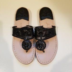 Jack Roger's Flat Black Leather Sandals Sz. 6